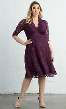new KIYONNA  lane bryant scalloped mademoiselle burgundy dress 2X