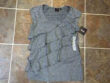 NWT RAFAELLA S/S Ruffle Tier Stretch Top Blouse Shirt Sz S Black