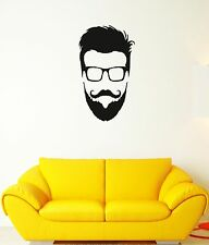 Wall Decal Hipster Glasses Beard Head Fashion Mural Vinyl Stickers (ed044)