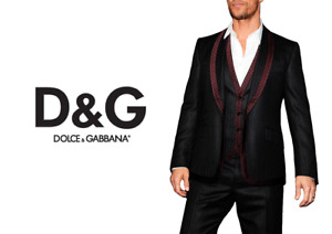 Dolce and Gabbana Men Fall14 Black and Maroon Contrast 3 Piece EU 52 Trim Suit