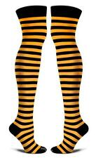 Orange and Black Striped Cotton Socks Thigh High Women One Size SF Giants Tiger