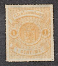 LUXEMBOURG #18 1c ORANGE, 1869 ROULETTED in COLOUR, VF, MINT HINGED