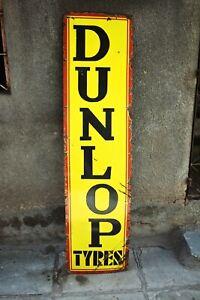 "Vintage Dunlop Tire Tyres Sign Board Porcelain Enamel Advertising Gas Pump Oil """