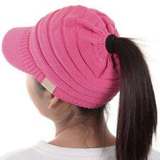 Brim Visor Trim Ponytail Beanie Ski Hat Knitted Stretchy Messy Bun Beanietail