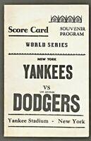 1963 WORLD SERIES SCORECARD New York Yankees vs Los Angeles Dodgers