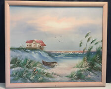 Vintage Artist Signed Oil Painting Boat Cottage Dunes Beach Water Birds