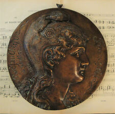 Rare Large Antique French Bronze Plaque Marianne Republique Francaise c1880