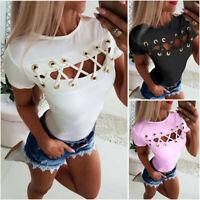 Womens Summer Bandage T-shirt Crop Top Casual Crew'Neck Short Sleeve Tops Blouse