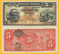 Mexico Banco Peninsular Mexicano 5 Pesos p-S465 1914 UNC Banknote