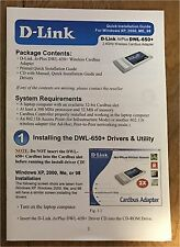 D-Link AirPlus DWL-650+ 2.4 GHz Wireless cardbus adapter manual only