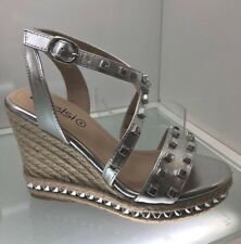 LADIES WOMENS SILVER STUD ESPADRILLES SANDALS WEDGE HIGH HEEL BEACH SHOES SIZE 7