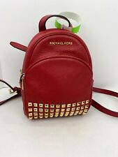 Michael Kors Bag Abbey Red Studded Pebbled Leather XS Backpack B2U
