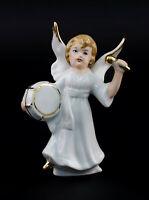 9942872 Porzellan Figur Wagner & Apel Engel mit Trommel Weihnachten H10cm