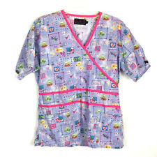 Beverly Hills Nursing Scrub Top Large Purple Pink Frog Butterfly (A5)