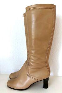 JIL SANDER Stiefel Beige Braun 38,5 Leder 7cm Heels Kniehoch Leather Boots Brown