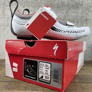 Specialized Men 8.5 Shoes Bike Trivent Expert US 41.5 White Red Carbon FACT NEW