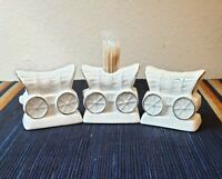 White w/ Gold Trim Conestoga Wagon Salt and Pepper Shakers with Toothpick Holder