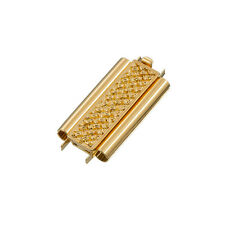 Beadslide Cross Hatch Slider broche de oro chapado 10x24mm (L81/5)
