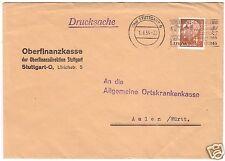Bedarfsbrief, Drucksache, BRD, Michel 178, EF, o (14a) Stuttgart 9, 1.6.54