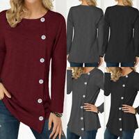 Women Ladies Long Sleeve Pullover Blouse Button Trim Loose T-shirt Top Plus Size