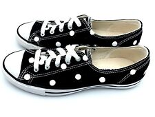 NWOB Converse Dainty Women 5.5 BLACK Polka Dot Chuck Taylor All-Star 542527F