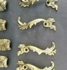 Pair of Antique Ornate Rococo Gilt Bronze Furniture Drawer Pulls Handles L & R