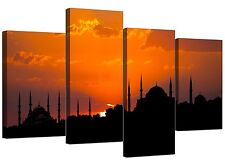Islamic Canvas Wall Art of Istanbul Sunset for your Living Room - Orange