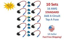 10x STANDARD Add-A-Circuit Fuse Tap Holder 16 AWG Gauge Car Auto Truck +15 Amp