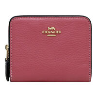 NWT COACH Small Double Zip Around Wallet Coin Card Case Rouge Pink Gold F76752