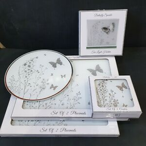 New SILVER glitter butterfly glass placemats and coaster The Leonardo Collection