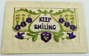 """UNPOSTED   WW1 SILK POSTCARD  """"KEEP SMILING"""" WITH INSERT CARD"""