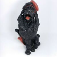 Vintage Poodle Dog with Red Umbrella Poly Resin Hand Painted Statue Figurine