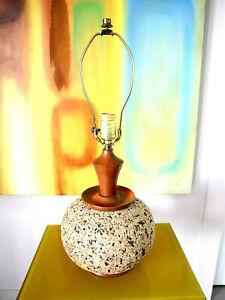 Mid-Century Modern Cork Walnut Wood Table Lamp Retro Danish Modern