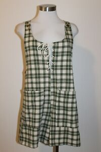 Vintage CONTEMPO CASUALS USA Plaid Lace-Up Shorts Romper sz Small CUTE!!!!