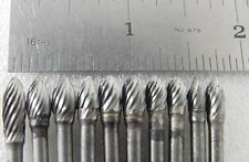 "NEW SOLID CARBIDE BITS CUTTING TOOLS 1/8"" SHANK DREMEL FOREDOM TOP QUALITY 10 PC"