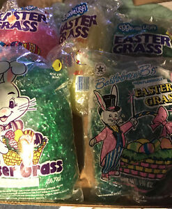 Five Bags Vintage  Eggsville & Other Easter Grass For Easter Basket New Sealed