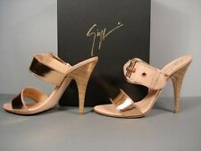 Zanotti 36/6 Double Strap Buckle Rose Gold leather Authentic Sandals sale New