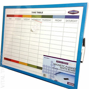 Weekly Planner Organiser Whiteboard Memo Notice Board Time Table Magnetic + Pen