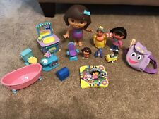 Lot of  Dora The Explorer Dollhouse Furniture Sink Tub and Dolls