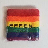 Effen Vodka Sweat Wrist Sweatband Rainbow Drink Responsibly LGBT LGBTQ Gay Pride