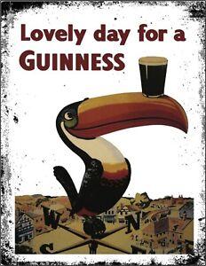 Guinness IRE Retro Beer Stout Pub Shed Bar Man Cave Metal Aluminium Vintage SIGN