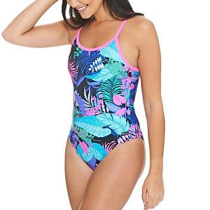 Zoggs Womens Flower Power Triback Swimming Pool Swim Swimsuit Costume - Multi