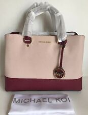 NWT!!Michael Kors Savannah Color-Block Saffiano Leather Satchel SF Pink/Mulberry