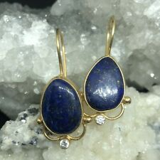Handmade  Designer Drop Lapis Earring 24K Gold Over 925K Sterling Silver