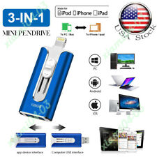OTG Pendrive 3 IN 1 USB Flash Driver Photo Memory Stick for iPhone iOS 128GB US