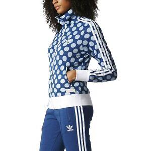 Adidas Women's M Firebird Blue Polka Dot Full Zip Up Track Jacket Stand Collar