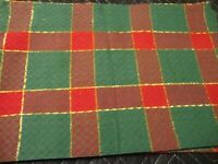"""Christmas Holiday (4) Red Green Gold Plaid Cotton Lined Placemats 19"""" x 13'  191"""