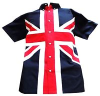 Relco Men's Union Jack Button Down Short Sleeved Flag Panel Sewn Shirt