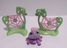 Littlest Pet Shop #136 Purple Spider w/ Flowers on Back 2 Green Web Accessories