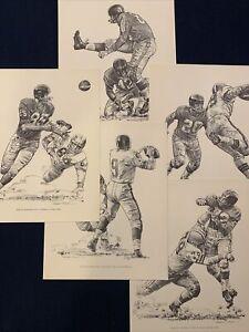 5 NEW YORK GIANTS 1960 ORIGINAL SHELL OIL PROMO PRINTS BY ROBERT RIGER 11 x 14